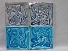 """Mythological designs- handmade clay tiles with Stamped designs, 2 alkali glazes.. Approx 10cm. 4"""""""