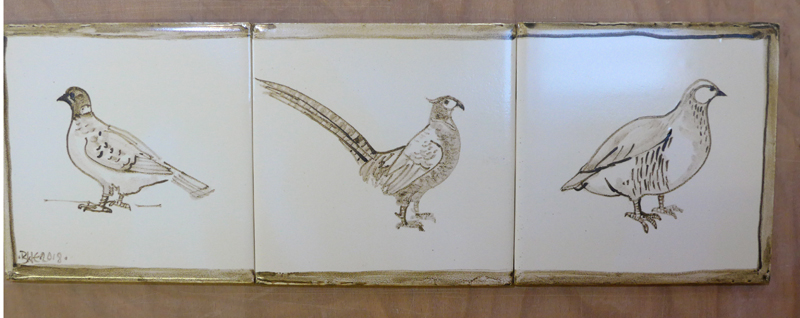 Gamebirds. Cream + brown tile splashback