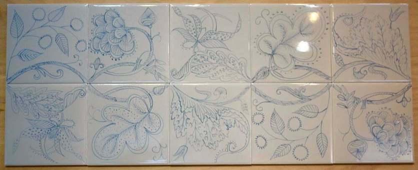 Tiles 'Blackwork' embroidery'