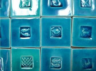 "handmade turquoise 3"" tiles"