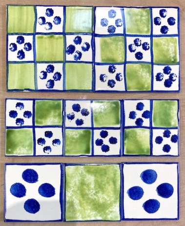 hand made tiles blue spots and green squares