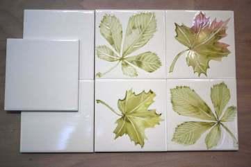 tree leaves stencil tiles