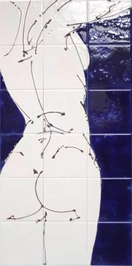 shower tile panel , torso.