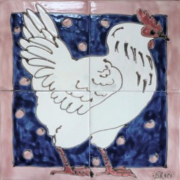 White chicken tile panel