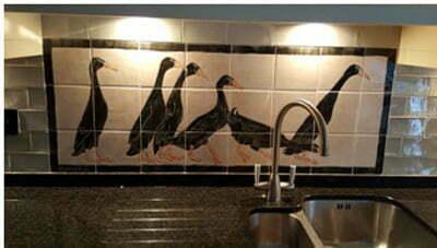 ducks tile panel with border