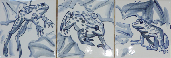 Frogs 'blue and white' tiles