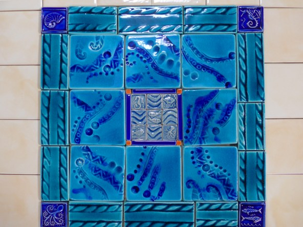 sea themed handmade tile mosaic