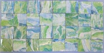 """Green landscape 2"""" handmade tiles"""