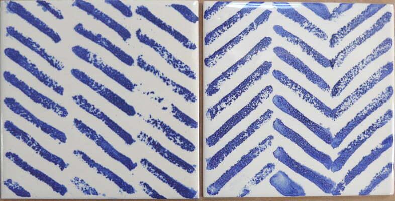 zig zag blue and white tiles