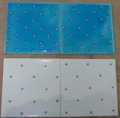 4 'spots' tubelined tiles