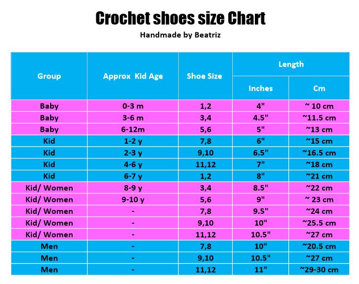 Crochet shoes size chart - Free