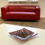 Interference Black Grey Red Fused Glass Angled Square Plate Handmade In Britain