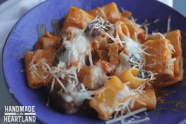 Sausage Meatball Pasta Bake with Vodka Sauce