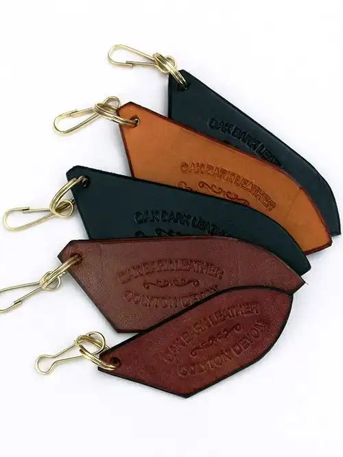 Leather Key Fobs with Oak Bark Stamp