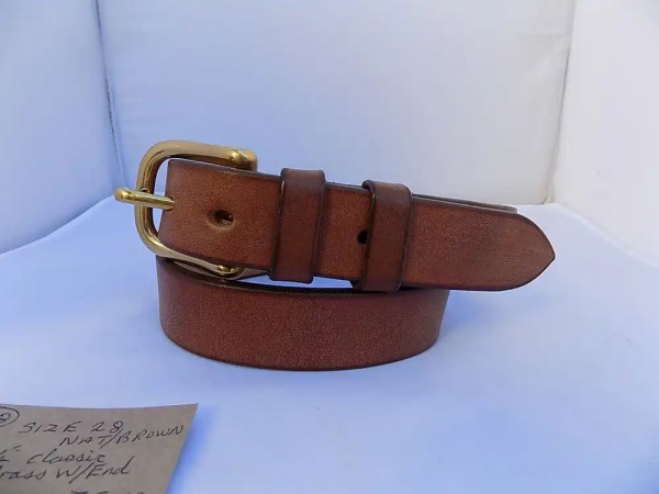 """28"""" Classic, Natural Brown, 1 ¼"""" wide, Brass West End buckle"""