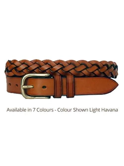 light havana four plaited leather belt