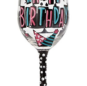 "282ce054f50 Designs by Lolita ""Happy Day"" Hand-painted Artisan Wine Glass for Birthday"