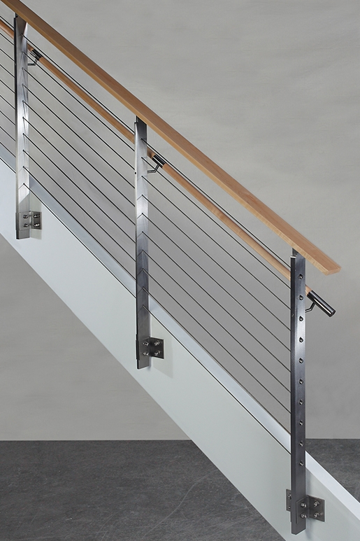 Koto™ Hdi Railing Systems   Wood And Steel Handrail   Wood Framed   Interior   Round   Rustic   Glass