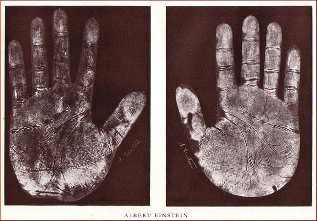 The handprints of Albert Einstein.