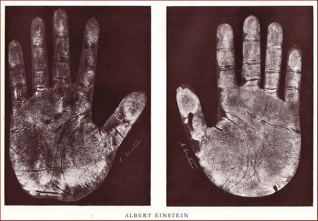 The handprints of Albert Einstein.