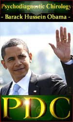 What does psychodiagnostic chirology reveal about the hands of Barack Obama?