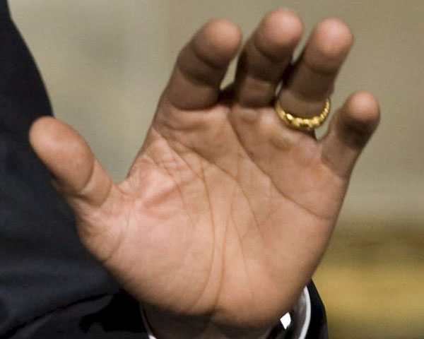 The left hand of Barack Obama - photo impression during a speach.