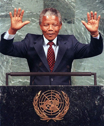 Nelson Mandela celebrates the very first Nelson Mandela day: july 18, 2009.