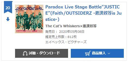 Paradox Live JUSTICE oricon weekly