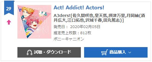 A3ders Act oricon weekly