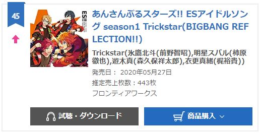 Trickstar ES idol song oricon weekly