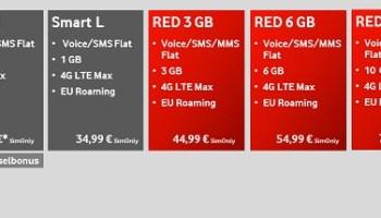 Vodafone Smartphone Tarifübersicht für Vertragskunden