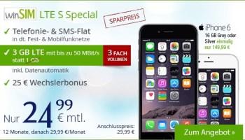 winSIM iPhone 6 Bundle inklusive Allnetflat Handytarif mit 3GB LTE Datenvolumen ab 24,99 Euro monatlich