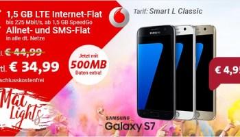 Die Sparhandy Mai-Lights - Das Samsung Galaxy S7 mit Vertrag schon ab 4,95 Euro einmaliger Zuzahlung