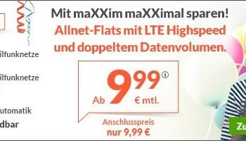 maXXim Faschings-Aktion - Billige LTE Allnetflat Handytarife mit doppeltem Datenvolumen ab 9,99 Euro monatlich