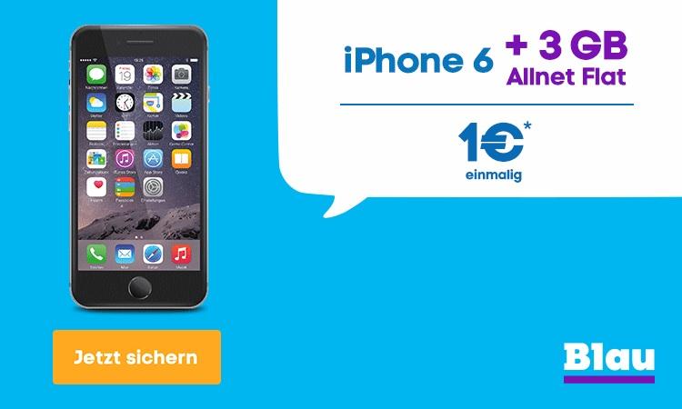 Blau Sommer-Deal - iPhone 6 + 3GB LTE Allnetflat für unter 20,00 Euro monatlich