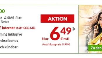 maXXim Aktionstarif LTE 500 mit 1 GB LTE-Datenvolumen für nur 6,49 Euro monatlich