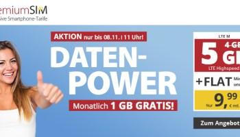 PremiumSIM LTE M Allnetflat Handyvertrag mit 5GB statt 4GB LTE-Datenvolumen für nur 9,99 Euro monatlich