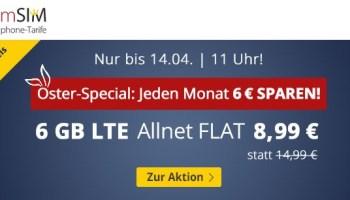 PremiumSIM Osterspecial - günstiger Handyvertrag mit 6 GB LTE-Datenvolumen und 40 Prozent Rabatt