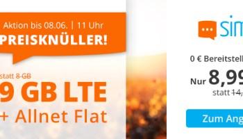 sim.de Weekend-Deal Preisknüller 9 GB LTE Handytarif für nur 8,99 Euro monatlich
