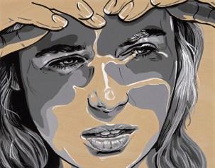 "*SOLD She Gaze 14x11"" Acrylic on birch paneled canvas"