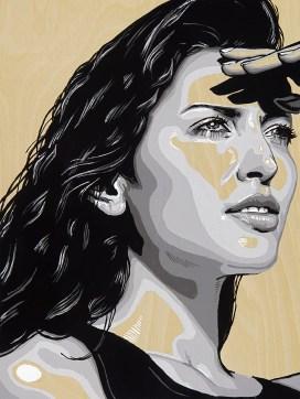 "*SOLD She Survey 9x12"" Acrylic on birch panel"