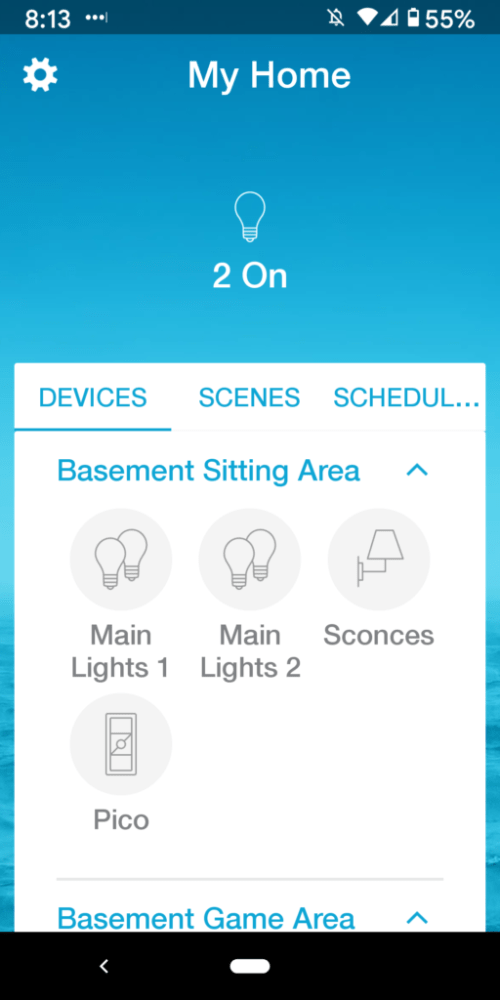 Lutron Caseta App Home Page