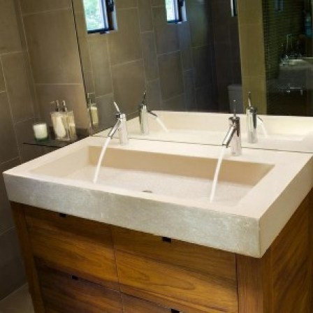 Concrete Trough Sinks in the Bath Room Bathroom Vanities