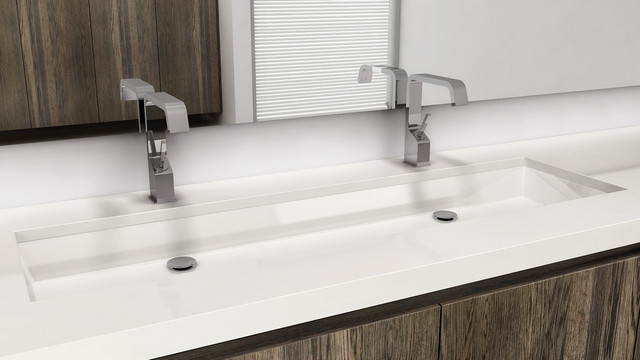 Bathroom Trough Sink With Two Faucets