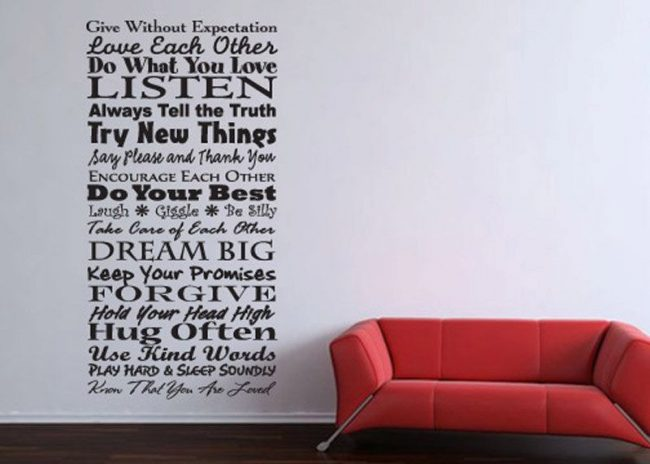 Word art decals for walls