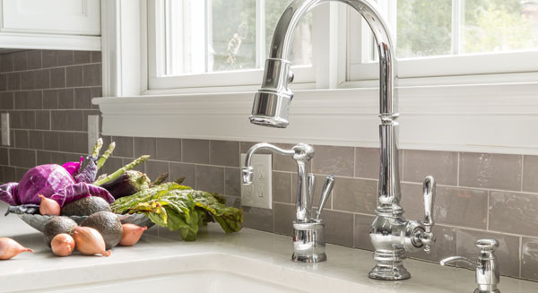Designer plumbing fixtures for kitchen and bath