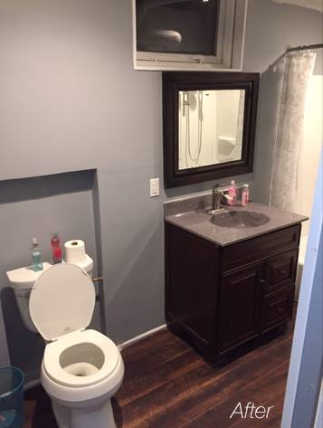 After - New toilet, vanity, top, faucet, & mirror