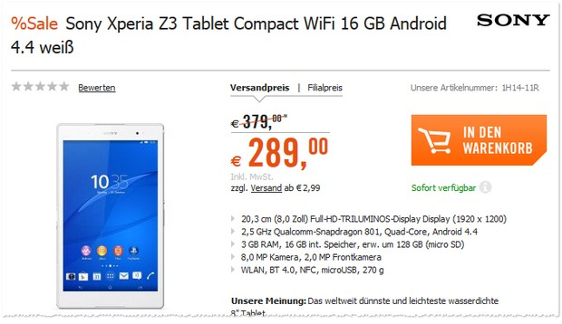 Cyberport Weekend Deal mit Sony Xperia Z3 compact Tablet