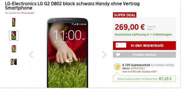 Rakuten Super Deal am 20.4.2015: LG G2