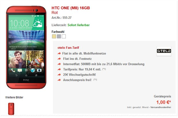 Otelo Fan-Tarif + HTC One M8 in Rot für 1 €